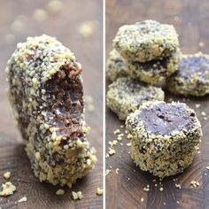 NEMME SØDE SAGER Crunchy chokolade No bake snickers bidder Banan/peanetbutter snack overtrukket med chokolade Oreo bites med peanuts og lakrids