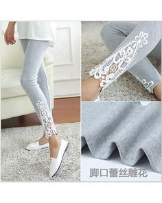 9e38ca53a73d6 These leggings are made in cotton, leggings are full length, decorated with  lace at