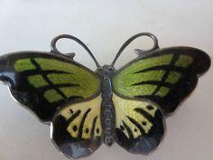 Vintage Signed Sterling Je Norway Green Enamel Butterfly Pin Brooch No Reserve | eBay