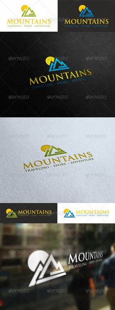 Sunny Mountains – Traveling Sport Logo – is a clean, professional and elegant logo suitable for nature & mountain business like an adventure sports company, a mountain brand, a natural line of products, hotels & resorts or any other business related.  Sunny Mountains – Creative Logo Template It will be perfect as main identity element for travel agencies, websites about mountains and hiking, wild life and tourism.
