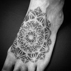 Dotwork mandala tattoo on foot by Mathieu Kes
