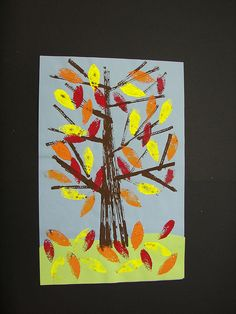 elementary art education autumn fall lessons printmaking leaves trees landscapes lesson project