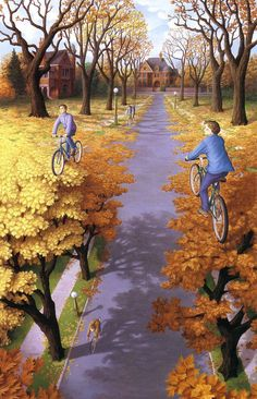 Masters of deception...Rob Gonsalves, Autumn cycling, 1994.
