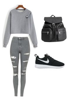 """""""Back to school"""" by diana-diiana on Polyvore featuring moda, Topshop e NIKE"""