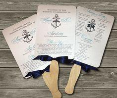 Wedding Program Fan  Nautical  DEPOSIT by ElabriaWeddings on Etsy