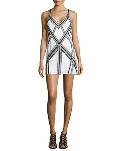 Benny Sequined Dress, White by Parker at Neiman Marcus.