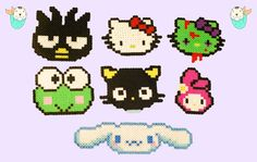 Sanrio Sprites Perler Beads (Badtz-Maru - Hello Kitty - Zombie - Keroppi - ChocoCat - My Melody - Cinnamoroll) by MerkittenCrafts Hama Beads Design, Diy Perler Beads, Perler Bead Art, Diy Bracelets Patterns, Beaded Jewelry Patterns, Beading Patterns, Kandi Patterns, Perler Patterns, Hamma Beads Ideas