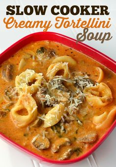 Slow Cooker Crockpot Creamy Tortellini Soup recipe - so easy and it uses frozen tortellinis, so great meal when fridge is empty!
