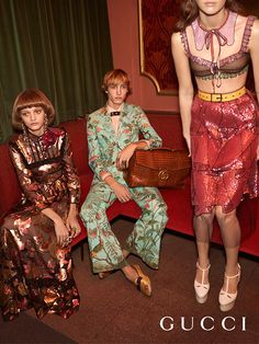 Prints and surfaces of the Gucci Spring Summer 2016 collection. A crêpe suit featuring the Gucci Tian print, floral satin moccasins and an exotic leather GG Marmont briefcase with a GG closure. Tulle top and skirt with sequined trompe l'oeil details, the double platform T-strap pump and an iridescent dress with lace trim.