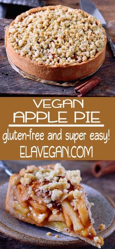 This vegan apple pie with streusel is the perfect fall dessert. It will make your kitchen smell like heaven and sweeten up your day. The recipe is vegan, gluten-free, can be made nut-free and refined sugar-free. Source by lisalazzarini Dessert Sans Gluten, Healthy Dessert Recipes, Appetizer Recipes, Paleo Dessert, Vegan Gluten Free Desserts, Vegetarian Desserts, Bolo Vegan, Patisserie Vegan, Dessert Parfait