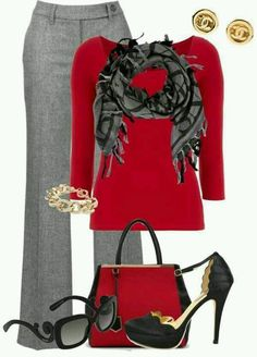 Love the red and grey combo!