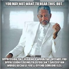 You may not want to hear this, but . Oppression is hearing a word that offends it. Oppression is being told you can't say certain words because you'll offend someone else. Quotable Quotes, Wisdom Quotes, Me Quotes, Funny Quotes, Quotes To Live By, Funny Memes, Rebel Quotes, Great Quotes, Inspirational Quotes