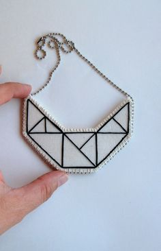 Small embroidered geometric bib necklace on por AnAstridEndeavor