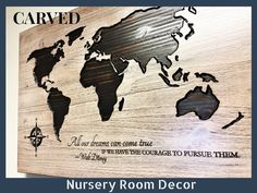 Nursery Room Decor, Baby Room, Kids Room Decor, Disney Quote, Luxury Home Wall Decor, Bedroom, Wooden Map, Disney Quote, Rustic, Vintage by HowdyOwl on Etsy