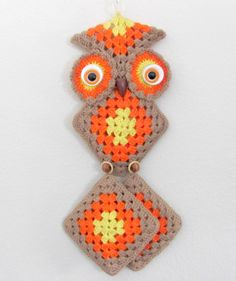Vintage 1970's Crochet Owl Wall Hanging by ThirstyOwlVintage, $58.50