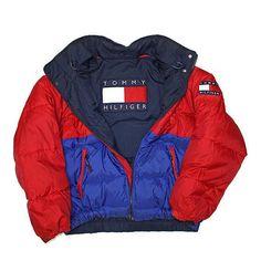 Details about VINTAGE Tommy Hilfiger Jacket Adult Large Big Flag Spell Out Reversible Mens 90s