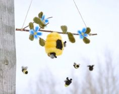Baby Mobile- Honey BEES and Hive in Felted Wool- Waldorf Mobile, Crib Mobile, Nursery Mobile with Blue or Pink Flowers