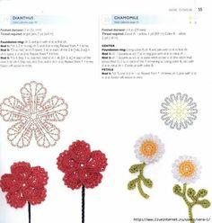 ru / Фото - 100 Lace Flowers To Crochet - nezabud-ka Crochet Leaf Patterns, Form Crochet, Crochet Diagram, Thread Crochet, Crochet Motif, Crochet Stitches, Diy Crochet Flowers, Crochet Leaves, Lace Flowers