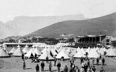 Green Point common circa Boer POW's in a camp at the Green point sport grounds, before shipment to Ceylon. Cities In Africa, Old Photos, Vintage Photos, Inner World, Most Beautiful Cities, African History, Cape Town, South Africa, Paris Skyline