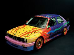 """BMW M3 Group A Race VersionKen Done BMW M3, 1989""""I have painted parrots and parrot fish. Both are beautiful and move at an incredible speed. I wanted my BMW Art Car to express the same thing."""""""