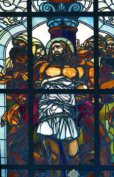 Christ begins his final walk, Stained Glass Window at The Monastery of the Flagellation, Jerusalem.  Photo Copyright 2017 Michael McLaughlin.