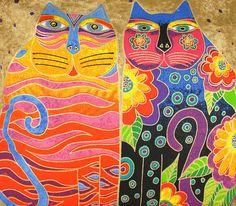 Artist Laurel Burch Hand Painted Fashion Tote Bag - Flowering Feline Friends