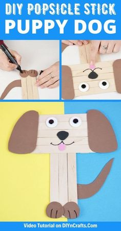 This easy kids craft for a cute craft stick dog is a perfect way to keep them busy using inexpensive craft supplies on hot summer days! This craft stick project is a great preschool craft idea that is easy to customize and a perfect dollar store craft that is easy on the budget! #CraftStickDog #CraftSticks #PopsicleSticks #KidsCrafts Craft Stick Projects, Craft Stick Crafts, Preschool Crafts, Fun Projects, Summer Camp Crafts, Camping Crafts, Summer Diy, Dollar Tree Store, Dollar Store Crafts