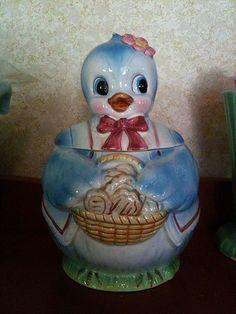 Vintage Made in Japan Bluebird Cookie Jar!