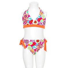 Girls Orange Fuchsia Peace Sign Two Piece Swimsuit Size 7-16 $21.99- Jasmine.  would.  die.