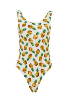 'Seychelles' White Pineapple Printed Swimsuit
