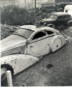 One of a kind Rolls Royce, sitting in a salvage yard. Not to worry, it has since been rescued and restored.