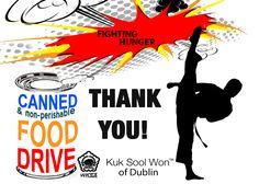 Martial arts school food drive poster design