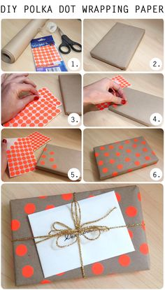 DIY Polka Dot Gift Wrap.        Gloucestershire Resource Centre http://www.grcltd.org/scrapstore/
