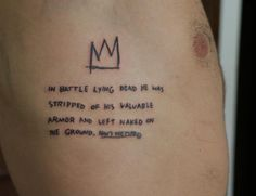 Image about basquiat+ in cool by no on We Heart It Jean Michel Basquiat, Rune Tattoo, Tattoo You, Basquiat Tattoo, Continuous Line Tattoo, Tattoo Quotes For Men, Finger Tattoos, Crown Tattoos, Tatoos