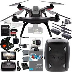 3DR Solo Quadcopter (No Gimbal) with Manufacturer Accessories + Extra 3DR Flight Battery + 3DR Propeller Set + 3DR Solo Backpack + GoPro HERO4 Silver + MORE SSE