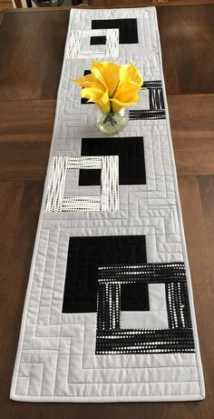 Modern Quilted Table Runner, Black White and Grey Wallhanging, Reversible Tablerunner, Modern Table Decor, Modern Quilted Table Runner Patchwork Table Runner, Table Runner And Placemats, Table Runner Pattern, Quilted Table Runners, Quilt Placemats, Table Runner Tutorial, Black And White Quilts, Black White, Modern Table Runners