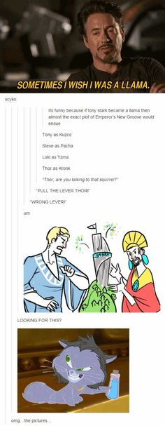 The Avengers in the emperors new groove