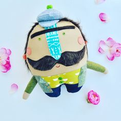 Mr Mustache // Ready to Ship // Charming one of a kins doll // Can be hung on the wall as decor by PinkCheeksStudios on Etsy Mr Mustache, Pink Cheeks, Button Eyes, Steel Material, Twinkle Twinkle, Fabric Design, Dinosaur Stuffed Animal, Shapes, Dolls