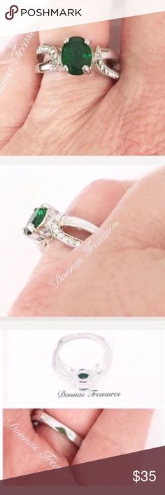 ❤️2 Carat Emerald Green Crystal Birthstone Ring This ring is made of a 2 carat lab created Emerald Crystal Gemstone in a 10 karat White Gold filled setting. It's highlighted on each side by 8 white crystals. Jewelry Rings