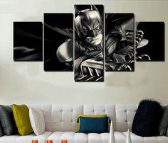 5 Piece Multi Panel Modern Home Decor Framed Batman Dark Knight DC Comics Wall Canvas Art