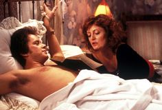 Pin for Later: 28 Real Couples Who Played Couples on Screen Tim Robbins and Susan Sarandon, Bull Durham Bull Durham, Susan Sarandon, Basic Instinct Movie, Tim Robbins, Kevin Costner, Real Couples, Latest Movies, Great Movies, Hollywood Stars