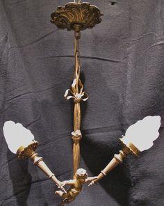 Antique Bronze Cherub Chandelier with Flame Glass Shades circa 1920s