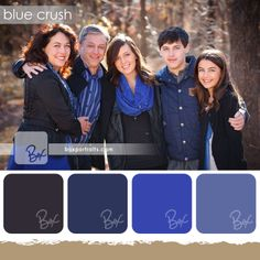 Jan 2014 - Blue Crush, a beautiful pallette for a family with blue eyes. Notice how the blue tones bring out the eyes? Large Family Photos, Family Christmas Pictures, Fall Family Photos, Family Pics, Fall Family Picture Outfits, Family Picture Colors, Family Outfits, Family Posing, Family Portraits