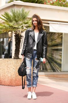 street style long leather jacket - Google-Suche