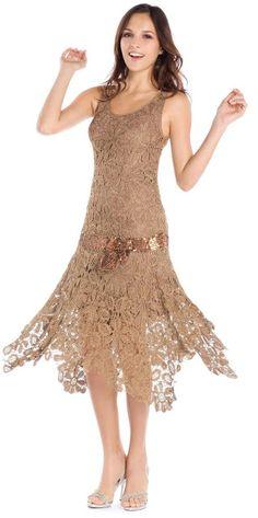 Crinochet: Bronze beauty - irish crochet flapper dress motif