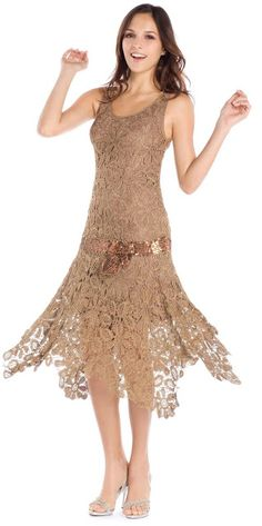 Crinochet: Bronze beauty - irish crochet flapper dress motif