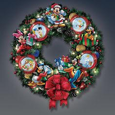 Make it a magical Disney Christmas with this illuminated wreath.