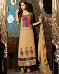 Sport a peppy look by wearing this beige faux georgette embroidered long churidar dress. The ethnic patch, resham and stones work with a attire adds a sign of splendor statement for your look. Salwar Kameez, Churidar Suits, Anarkali Suits, Wedding Salwar Suits, Wedding Suits, Saree Wedding, Indian Wedding Outfits, Indian Outfits, Party Wear Dresses
