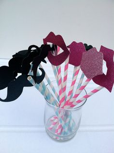 Paper Straw Mustache and Lips on a paper straw photo prop - ON SALE Set of 12 Pink and Blue Perfect for Gender Reveal or Baby Showers. $12.00, via Etsy.