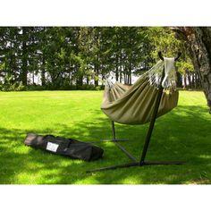 Vivere Hammocks Dupione Sand Sunbrella Fabric Single Hammock and Stand Set - C9SUNS